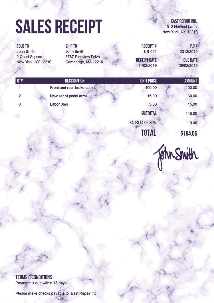 Sales Receipt Template Us Marble Purple