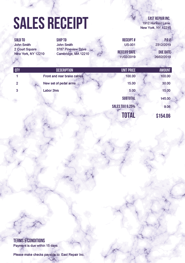Sales Receipt Template Us Marble Purple No Logo