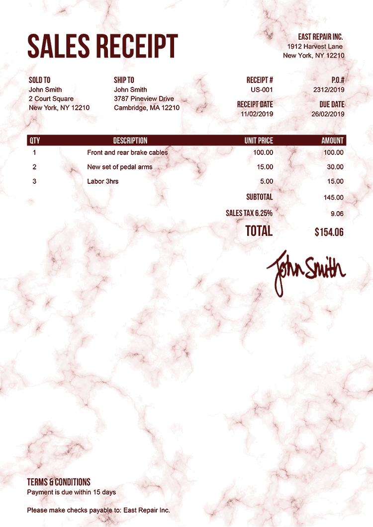 Sales Receipt Template Us Marble Red