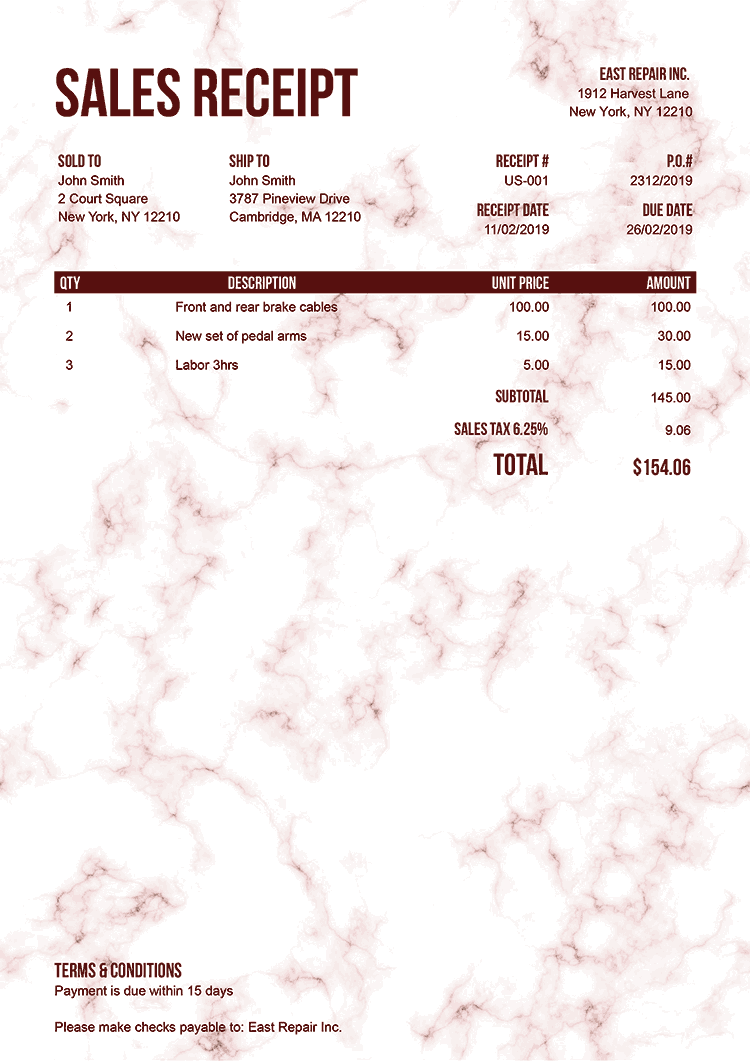 Sales Receipt Template Us Marble Red No Logo