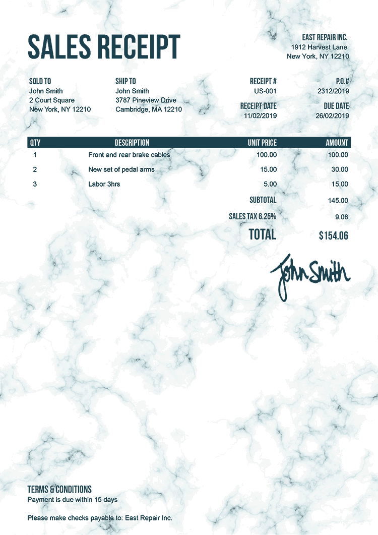 Sales Receipt Template Us Marble Teal