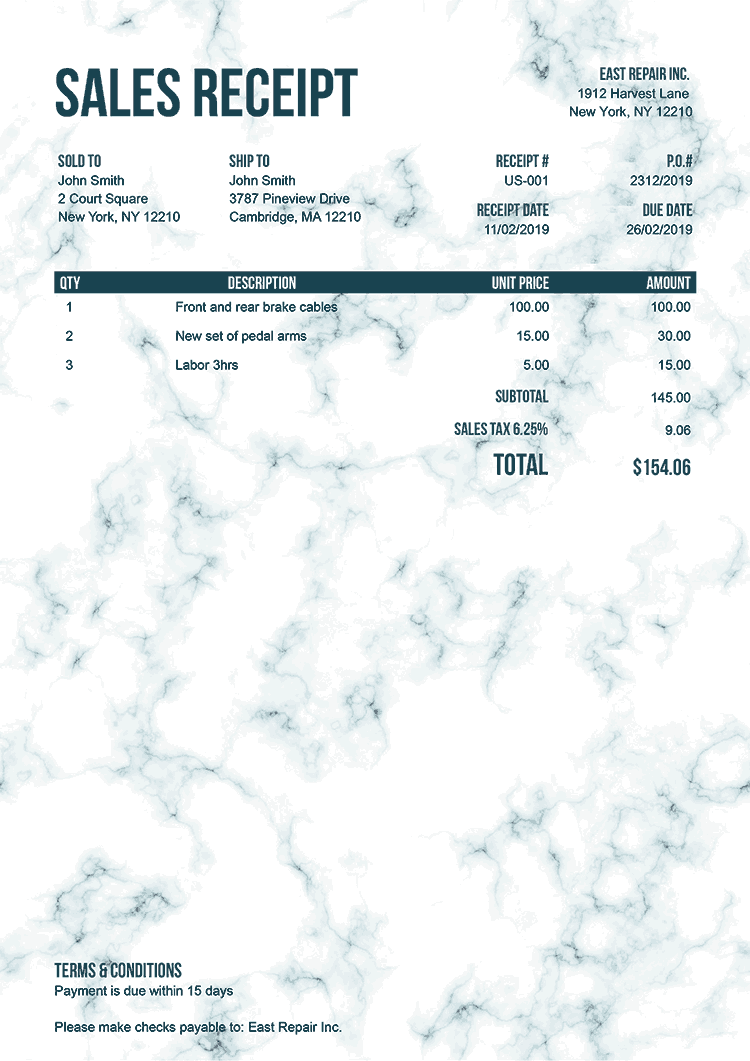 Sales Receipt Template Us Marble Teal No Logo