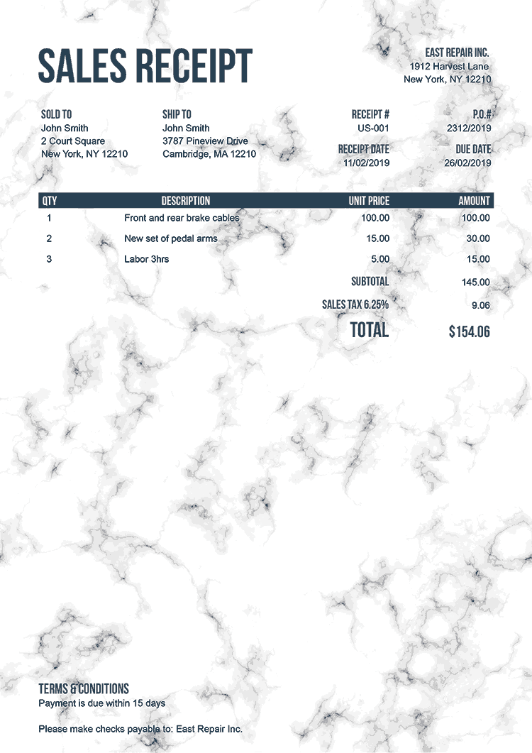 Sales Receipt Template Us Marble White No Logo