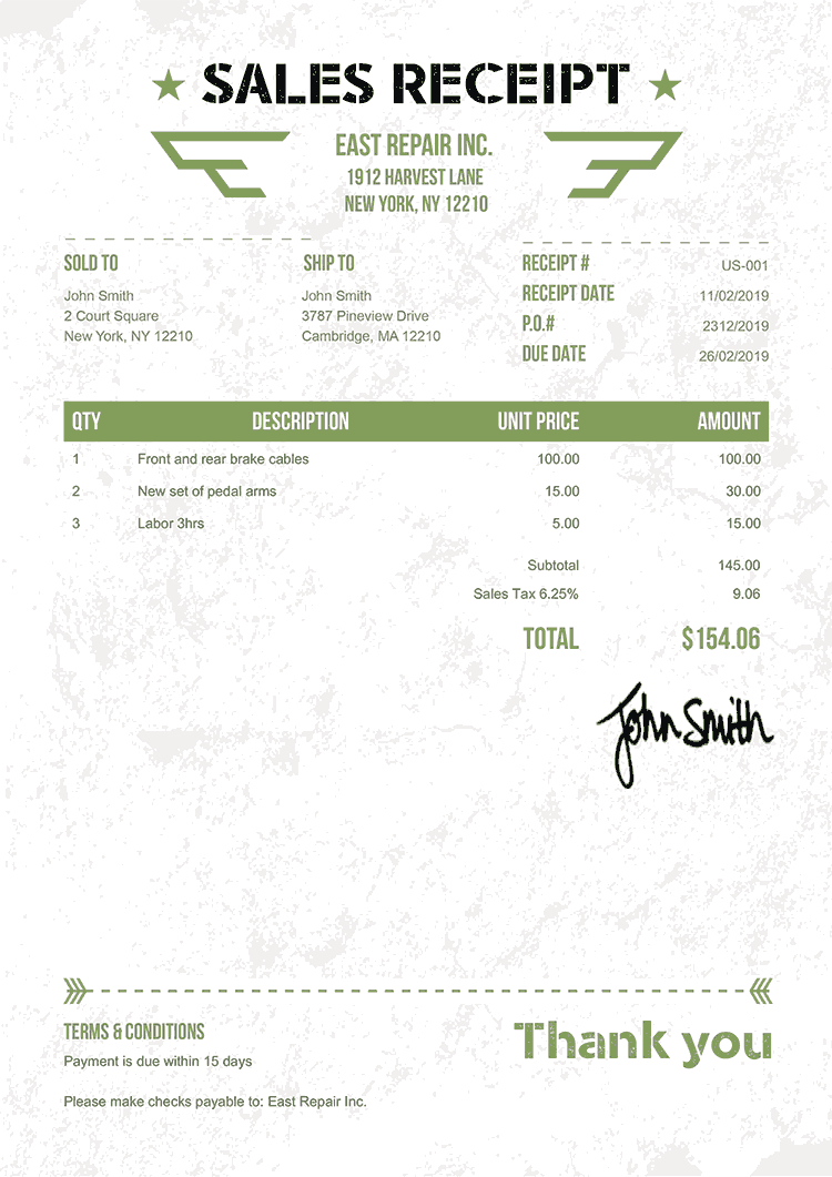 Sales Receipt Template Us Military Green