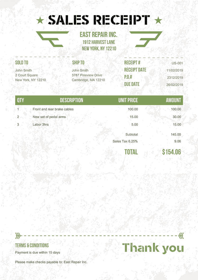 Sales Receipt Template Us Military Green No Logo