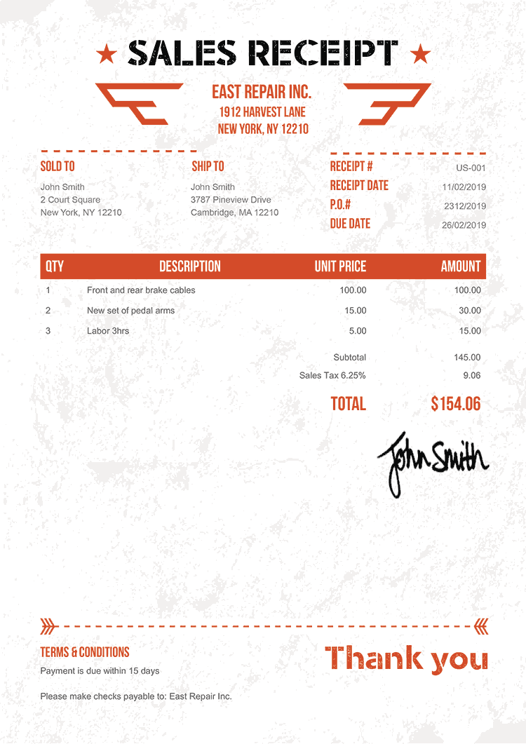 Sales Receipt Template Us Military Orange