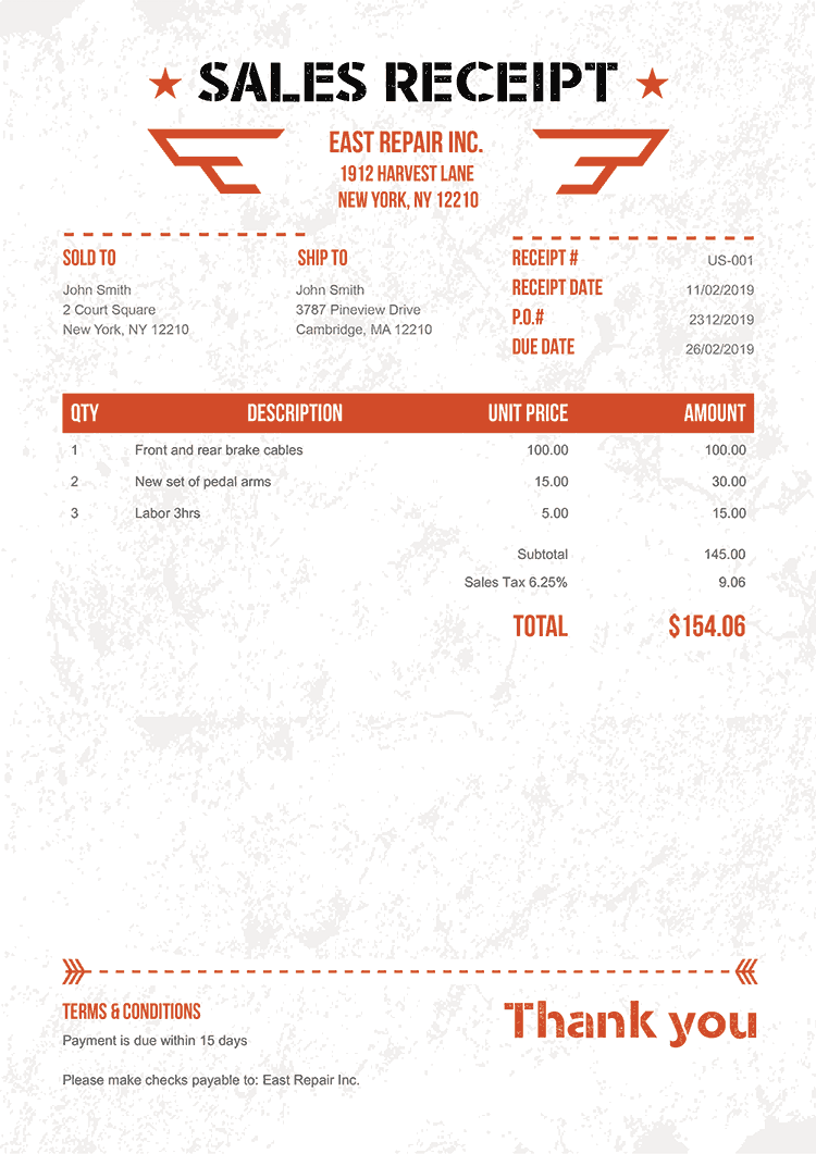 Sales Receipt Template Us Military Orange No Logo