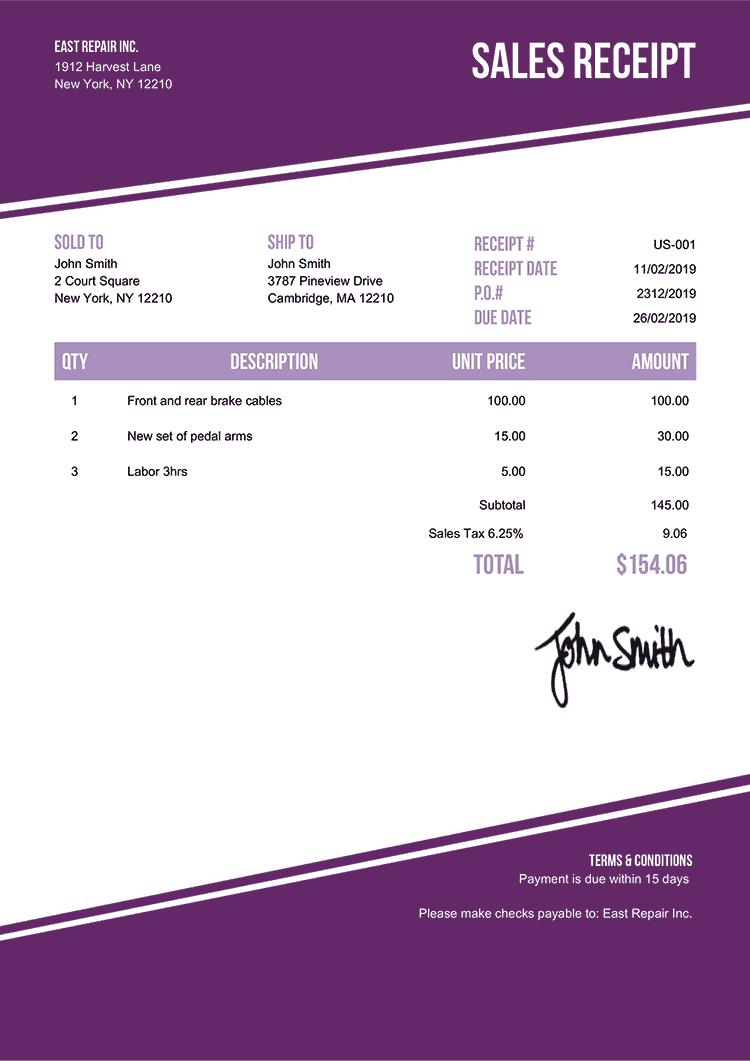 Sales Receipt Template Us Modest Purple