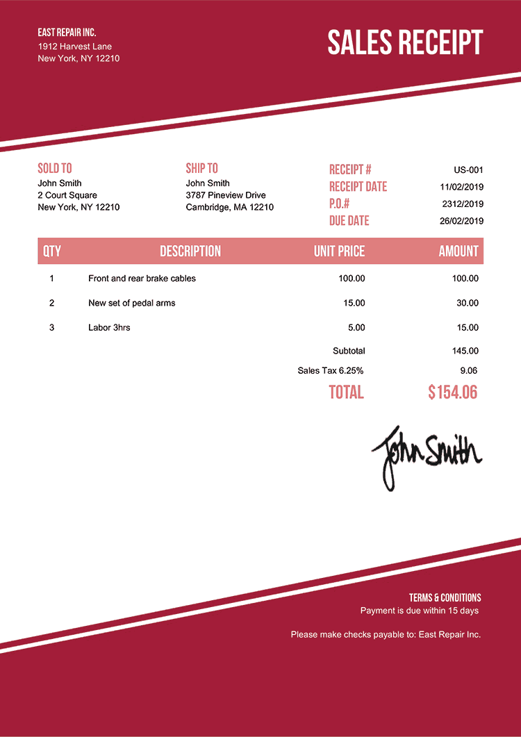 Sales Receipt Template Us Modest Red