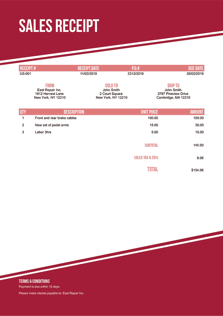 Sales Receipt Template Us Modest Red No Logo
