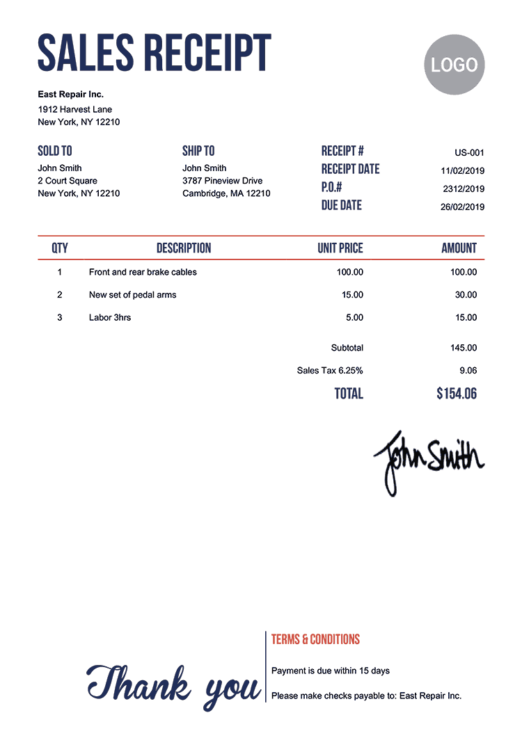 Sales Receipt Template Us Neat