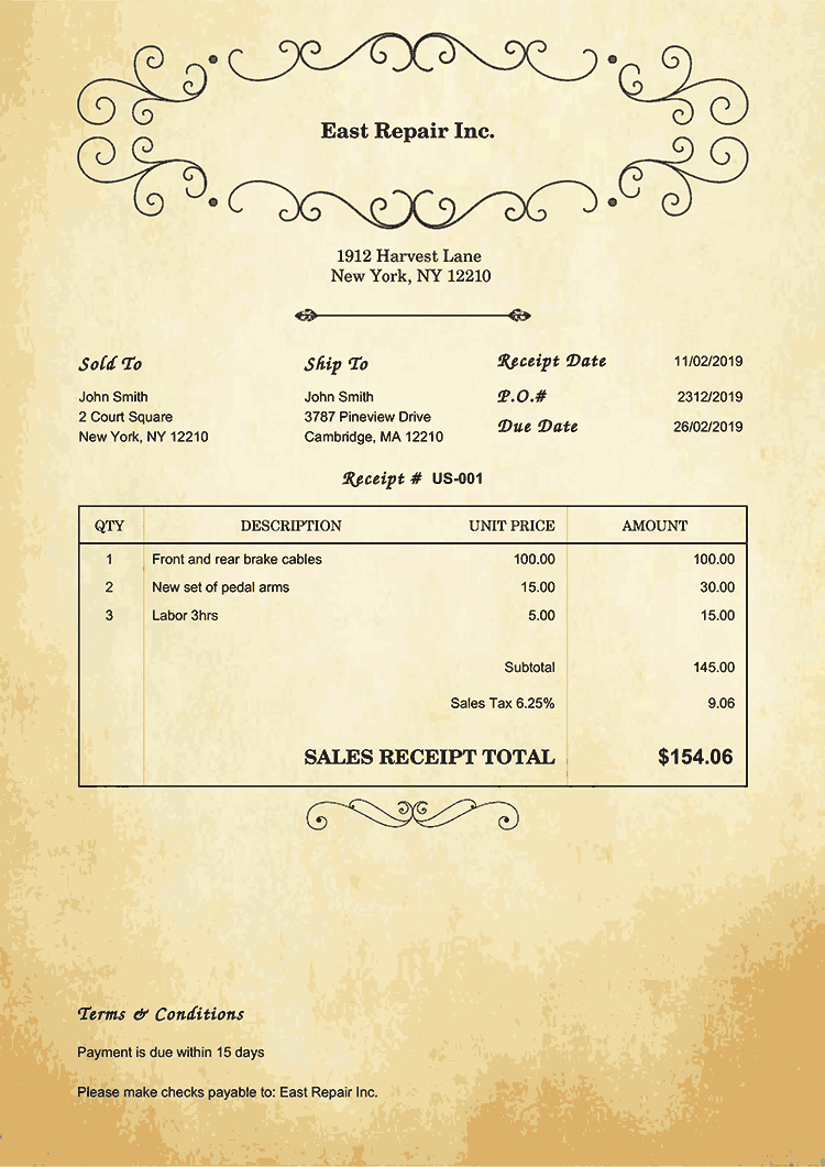 Sales Receipt Template Us Oldie No Logo