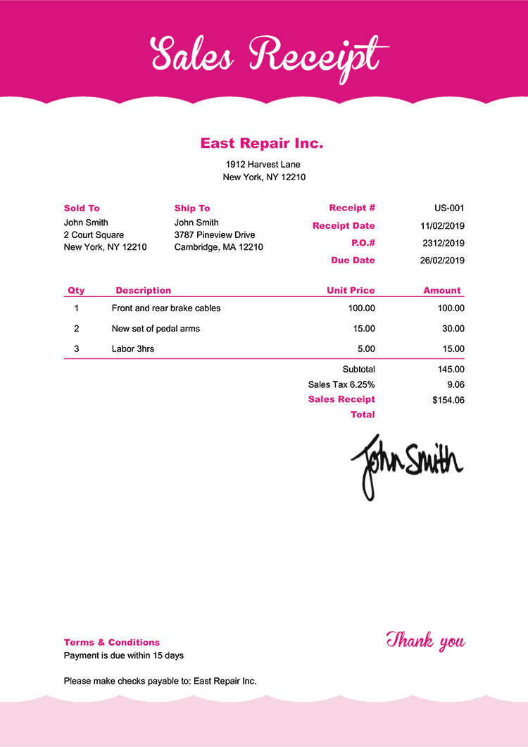 Sales Receipt Template Us Pink Frosting