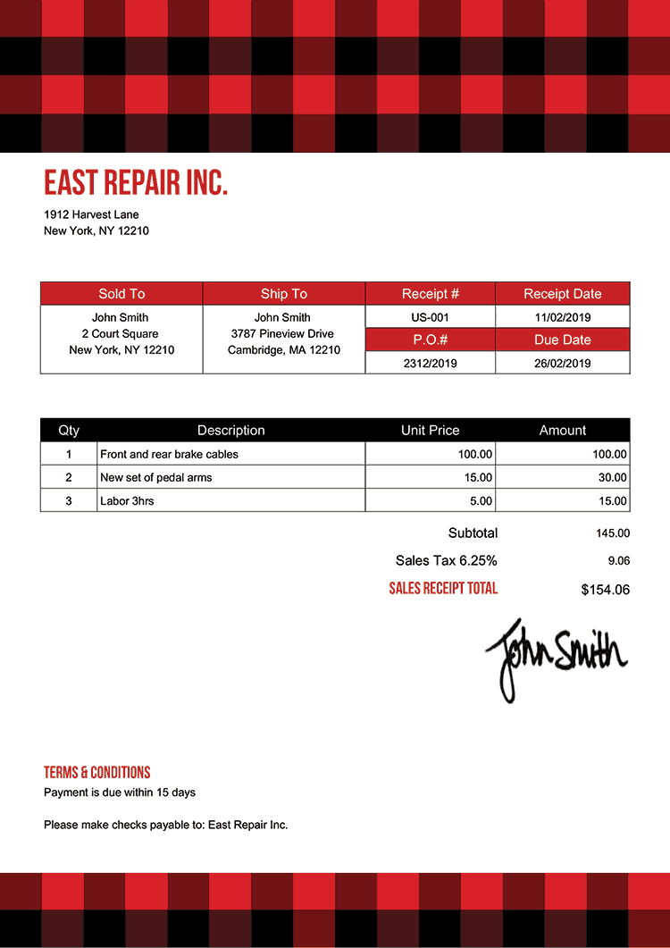 Sales Receipt Template Us Plaid Red