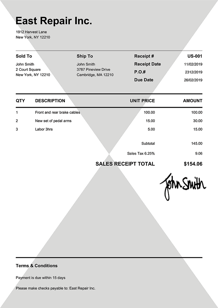 Sales Receipt Template Us Pure Black