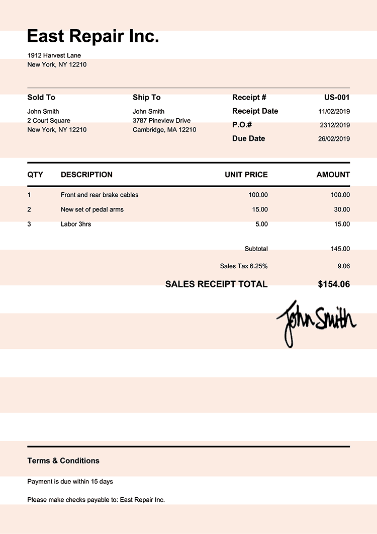 Sales Receipt Template Us Pure Orange