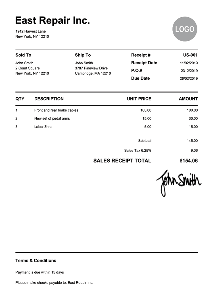 Sales Receipt Template Us Pure White