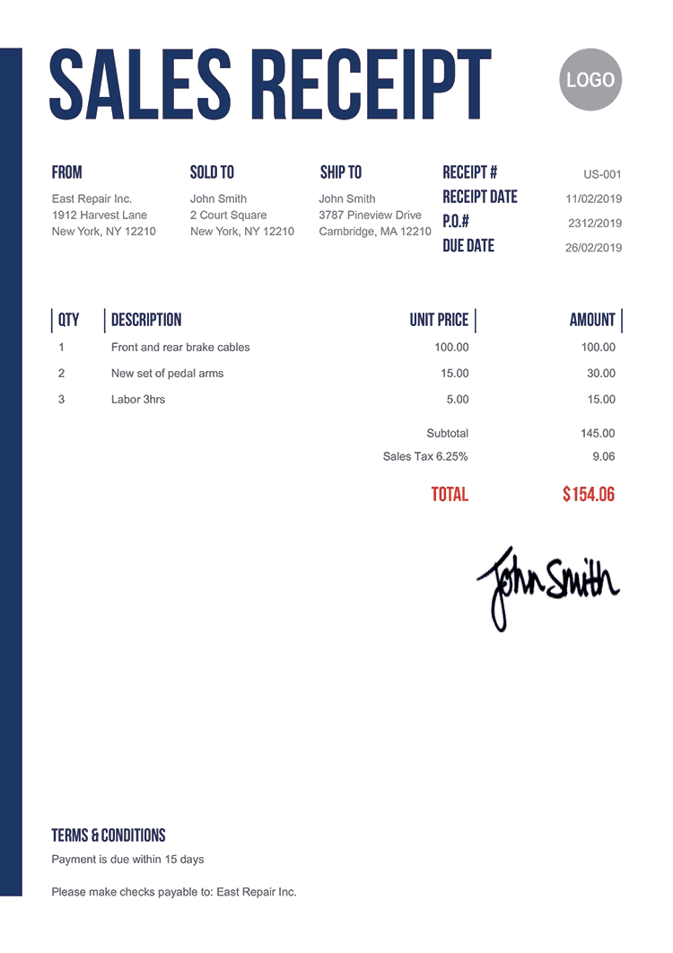 Sales Receipt Template Us Slim