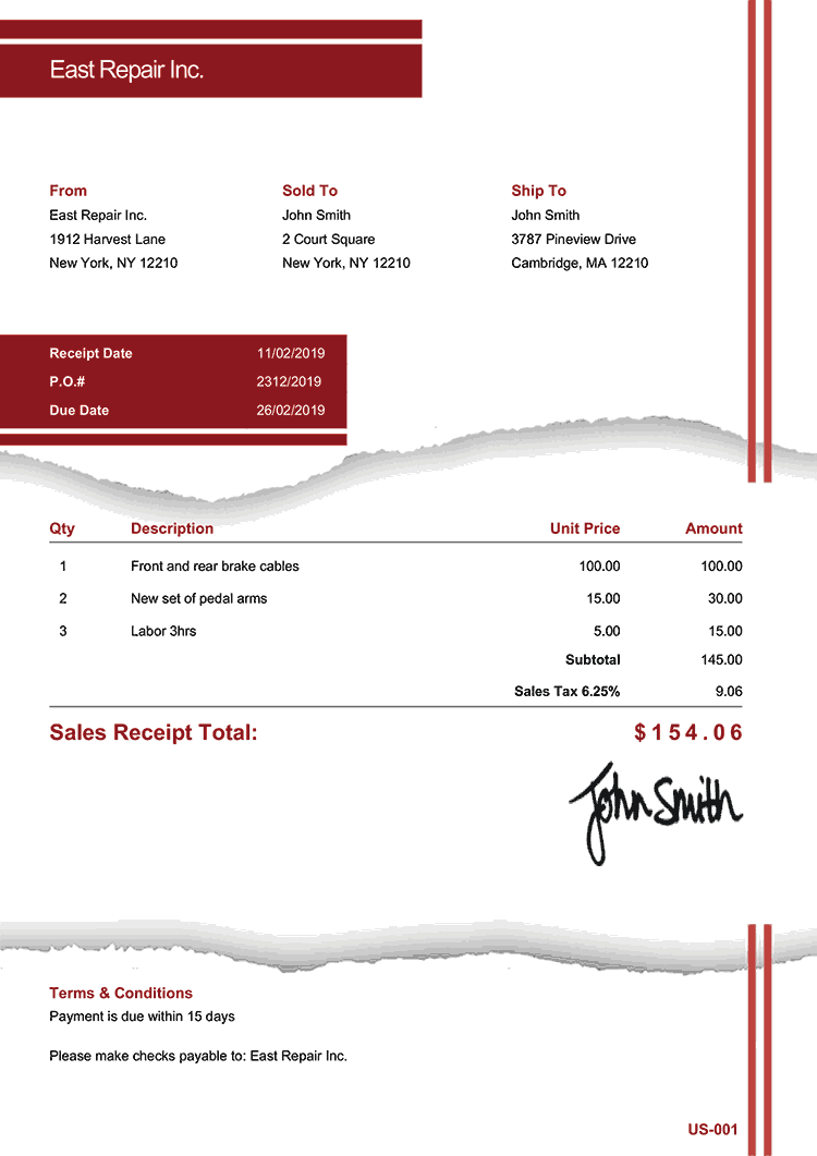 Sales Receipt Template Us Torn