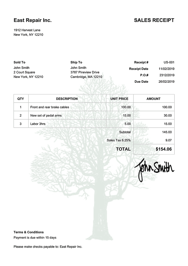 Sales Receipt Template Us Tree