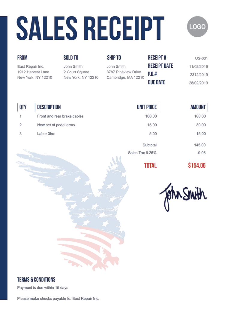 Sales Receipt Template Us Us Eagle