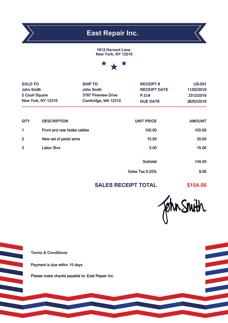 Sales Receipt Template Us Us Rock