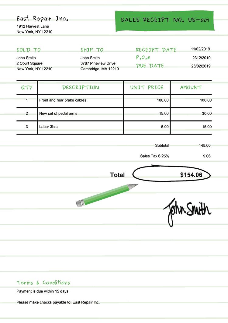 Sales Receipt Template Us Workbook Green
