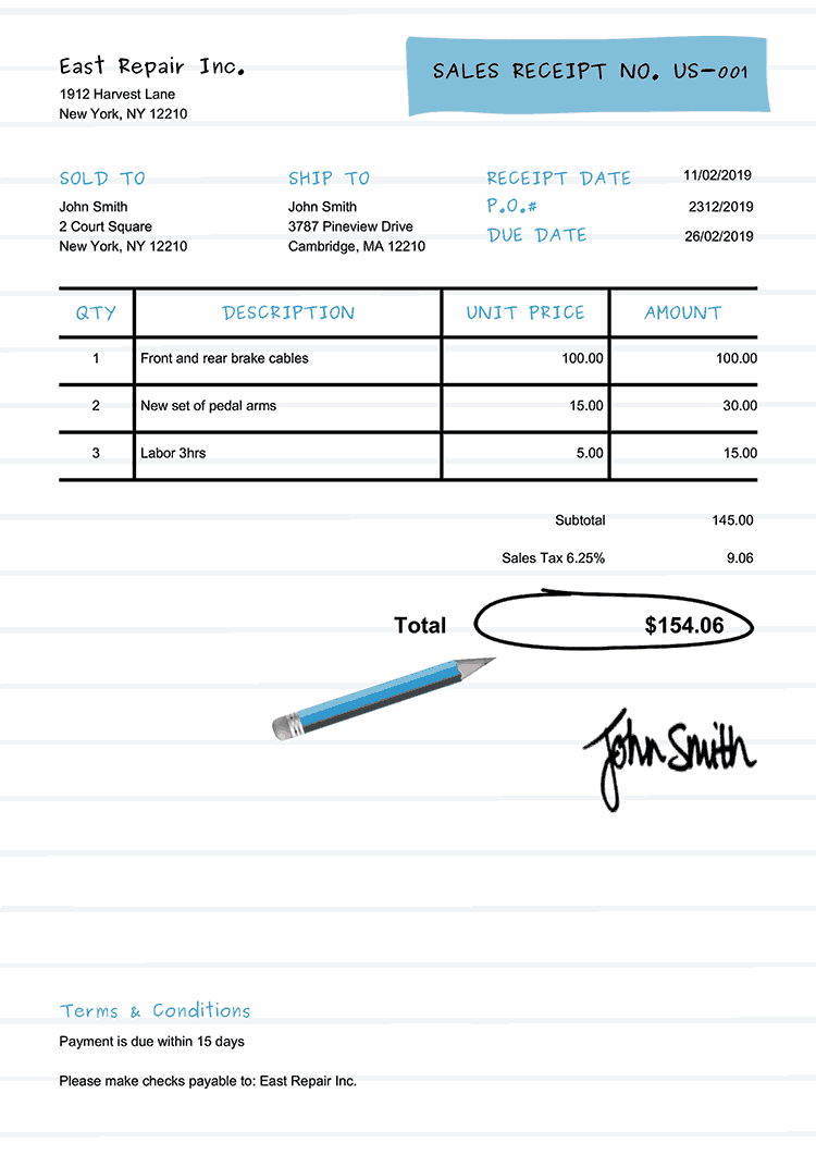 Sales Receipt Template Us Workbook Light Blue