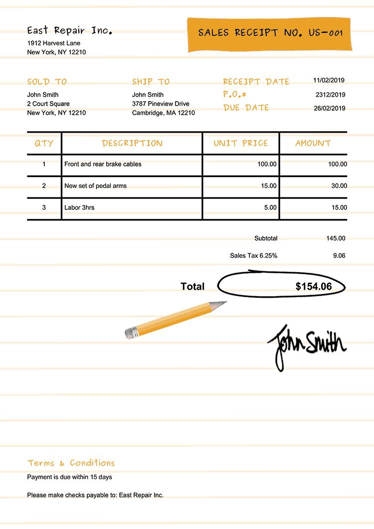 Sales Receipt Template Us Workbook Yellow