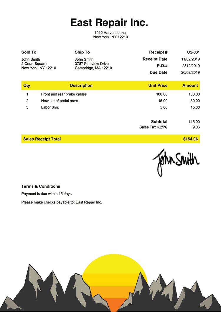Sales Receipt Template Us Zermatt