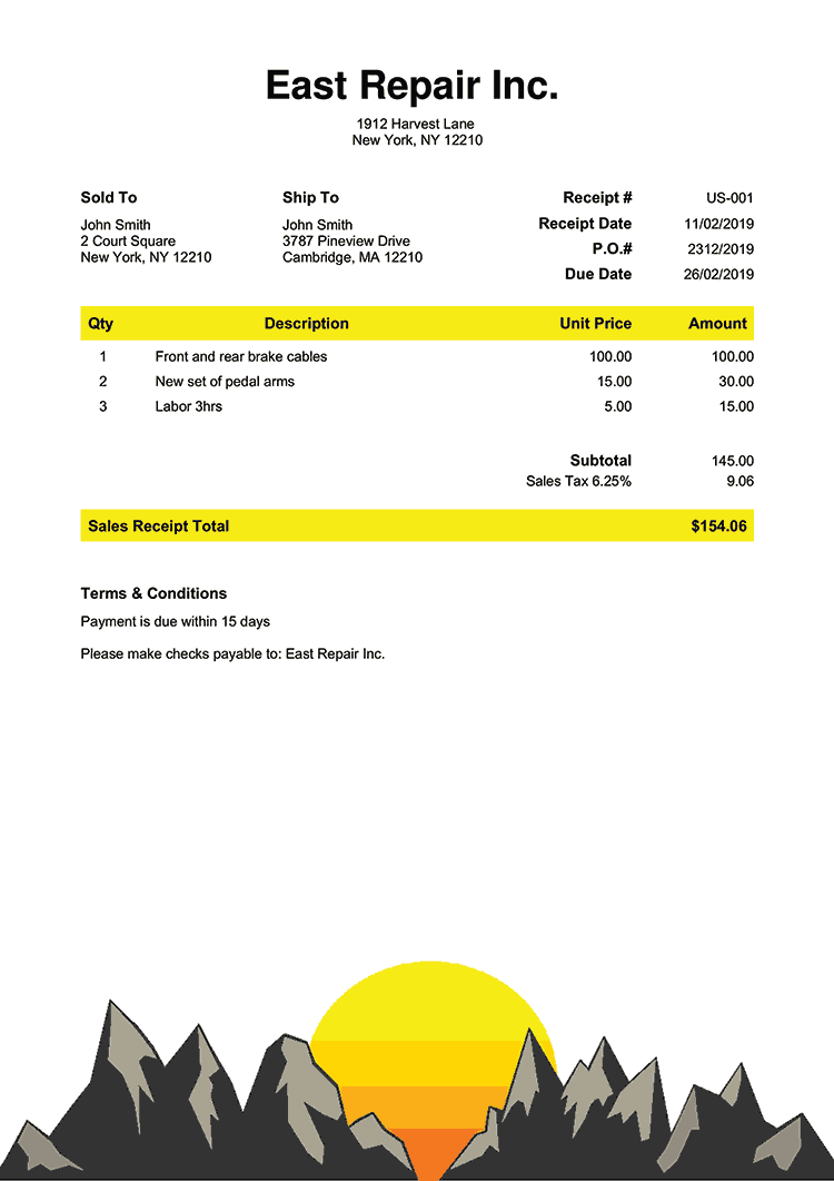 Sales Receipt Template Us Zermatt No Logo