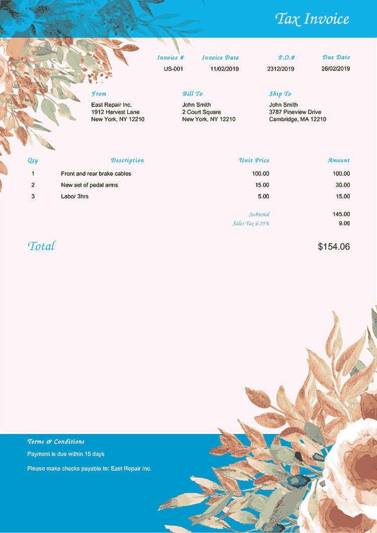 Tax Invoice Template Us Blooming Blue No Logo