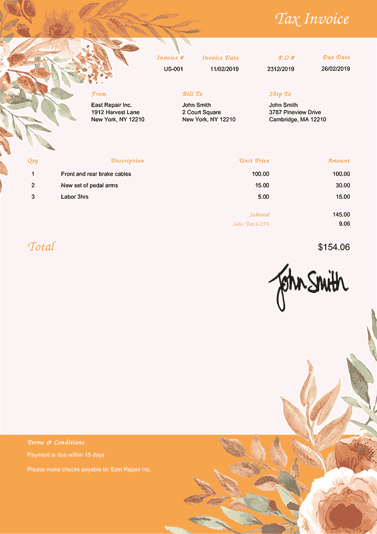 Tax Invoice Template Us Blooming Orange