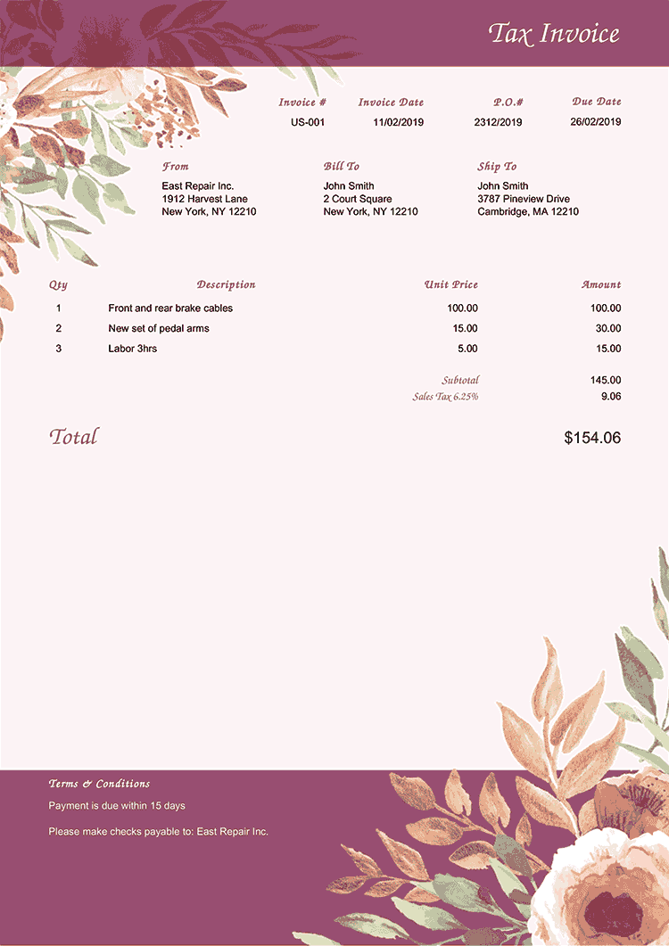 Tax Invoice Template Us Blooming Plum No Logo