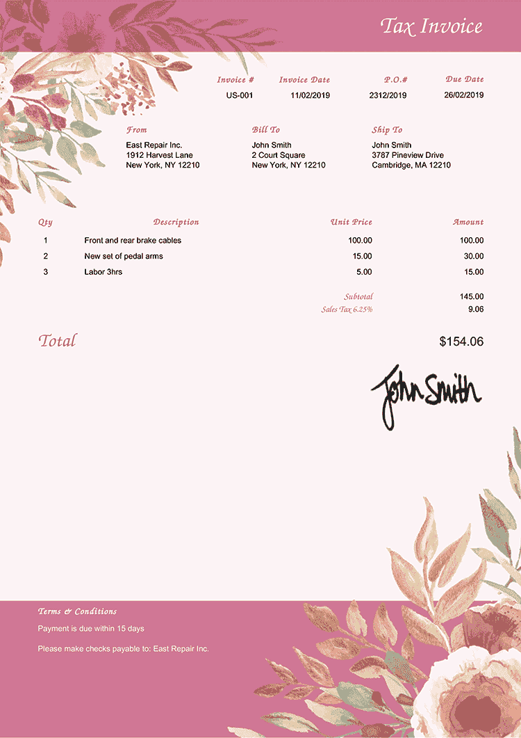 Tax Invoice Template Us Blooming Rose