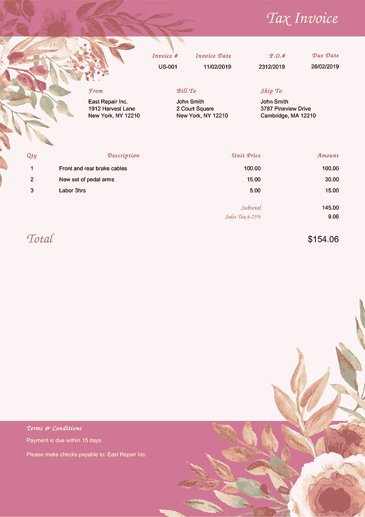 Tax Invoice Template Us Blooming Rose No Logo