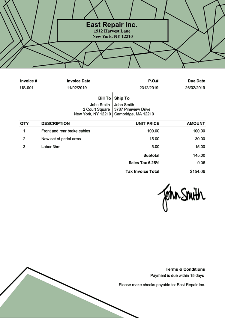 Tax Invoice Template Us Boulder