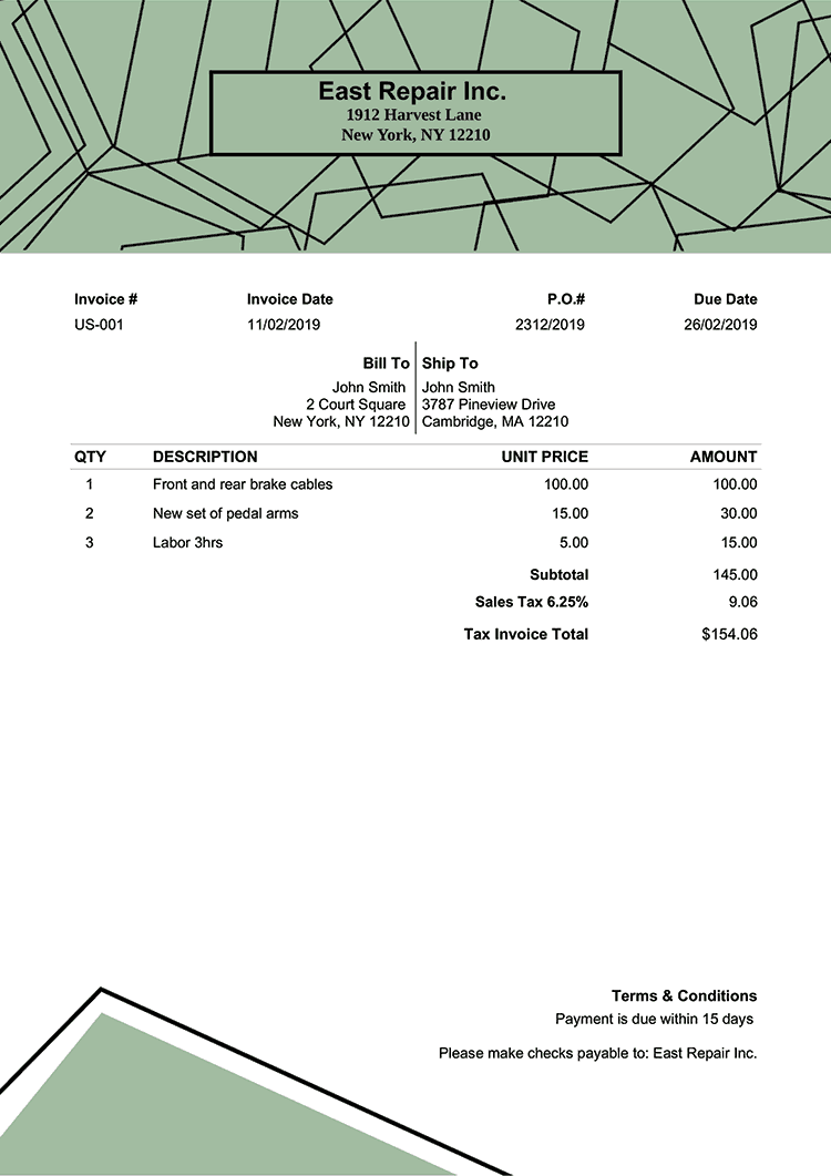Tax Invoice Template Us Boulder No Logo