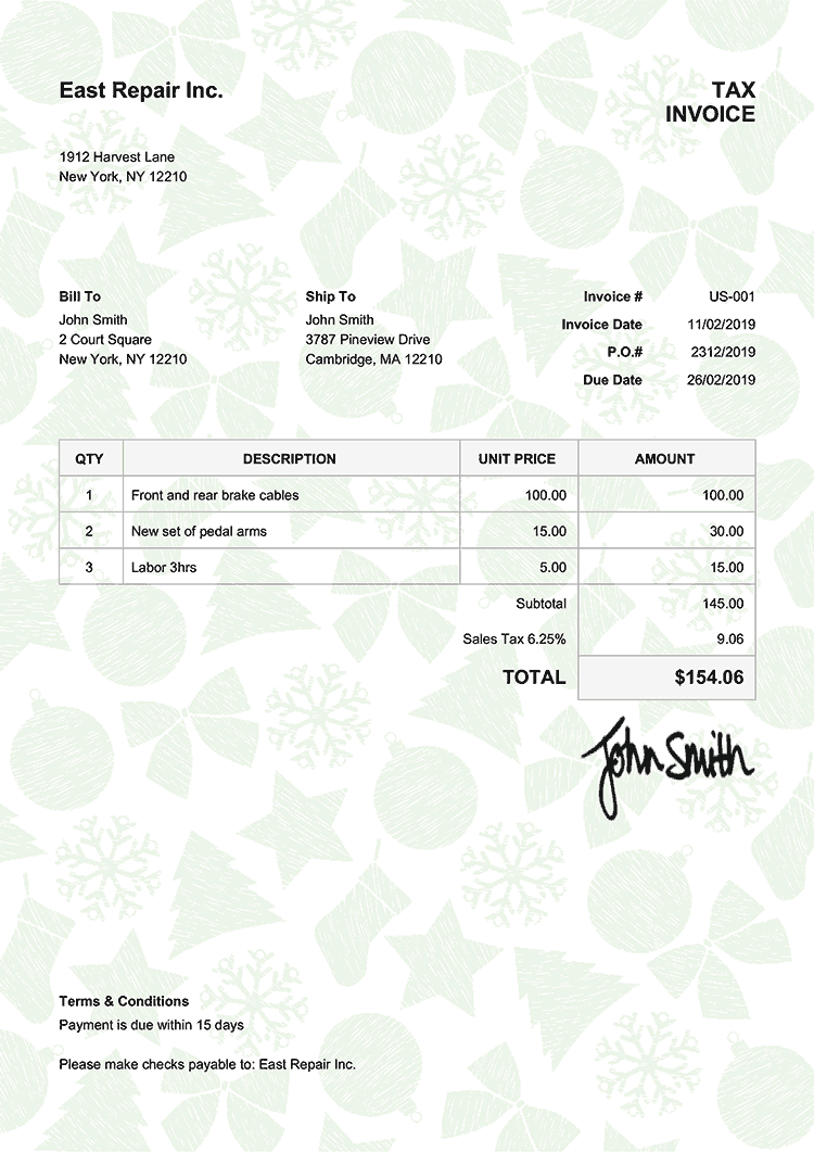 Tax Invoice Template Us Christmas Pattern Green