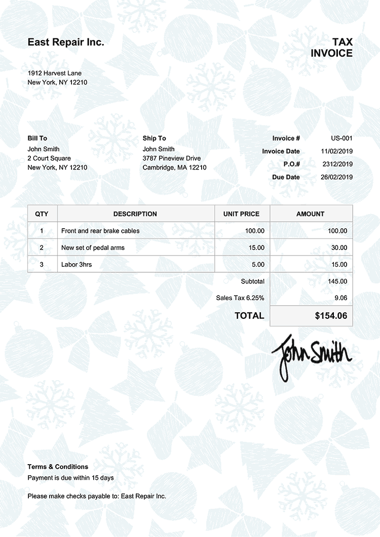 Tax Invoice Template Us Christmas Pattern Light Blue