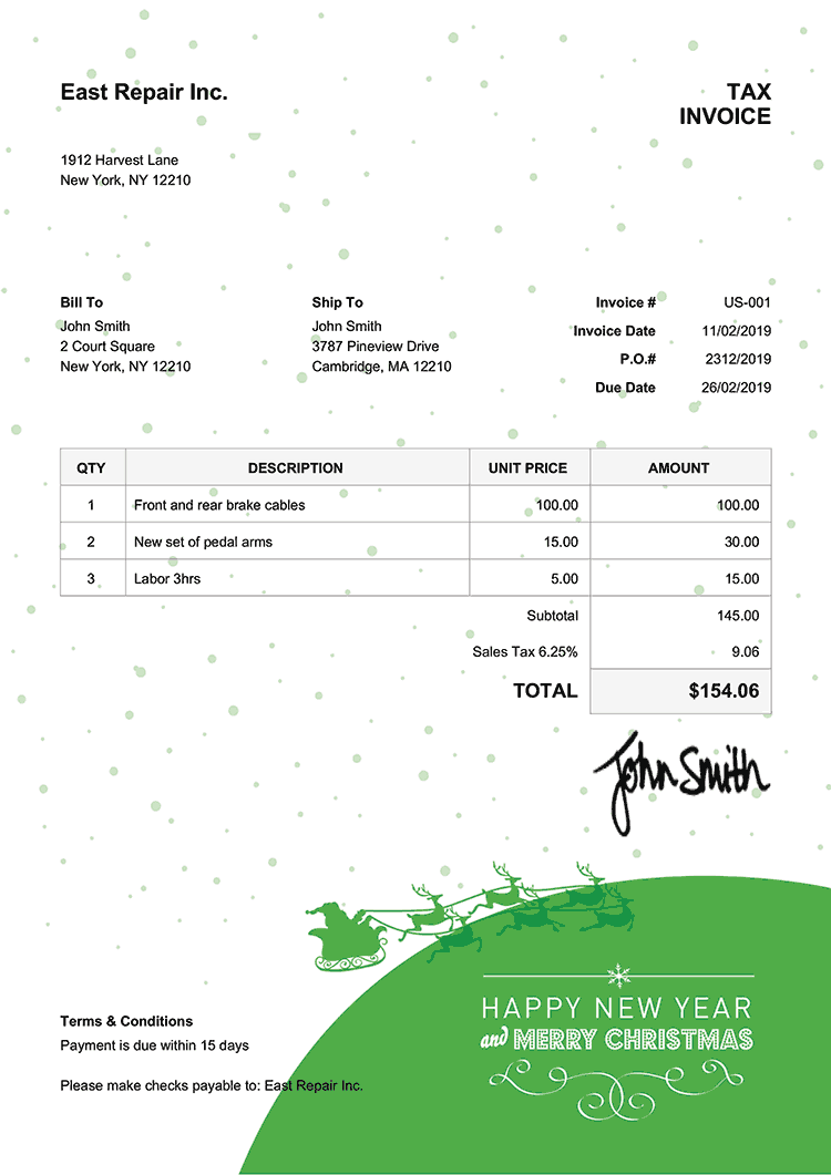 Tax Invoice Template Us Christmas Santa Green