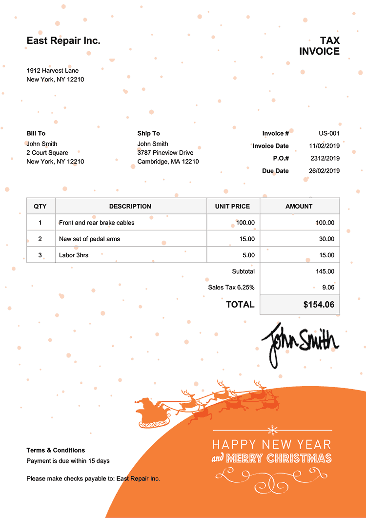 Tax Invoice Template Us Christmas Santa Orange