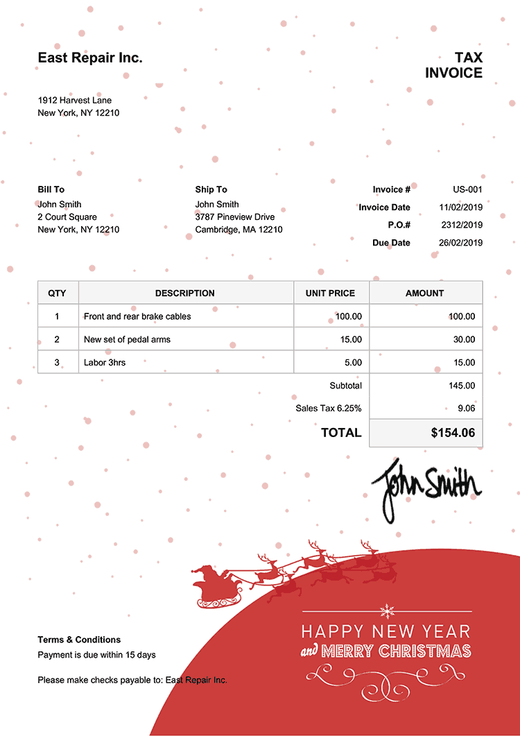 Tax Invoice Template Us Christmas Santa Red