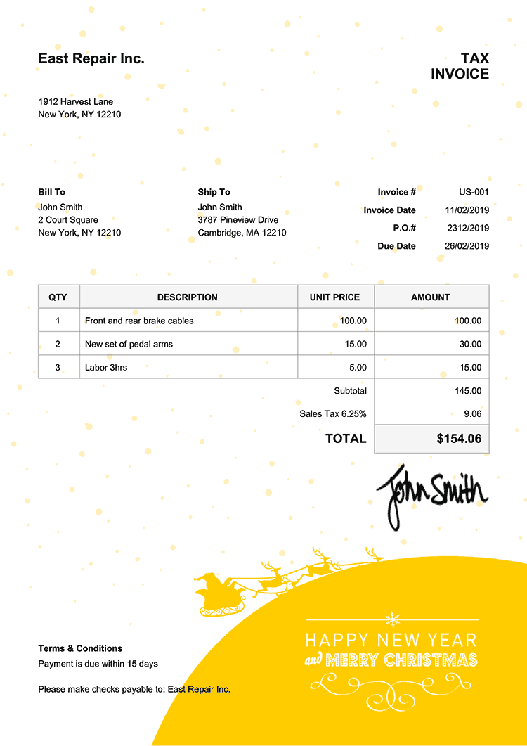 Tax Invoice Template Us Christmas Santa Yellow