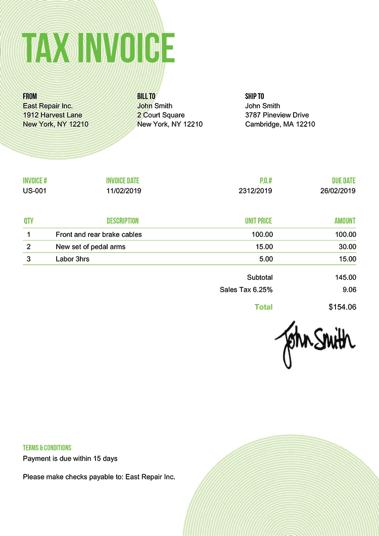 Tax Invoice Template Us Circles Green