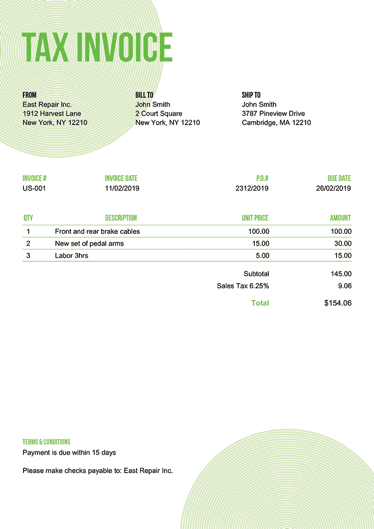 Tax Invoice Template Us Circles Green No Logo
