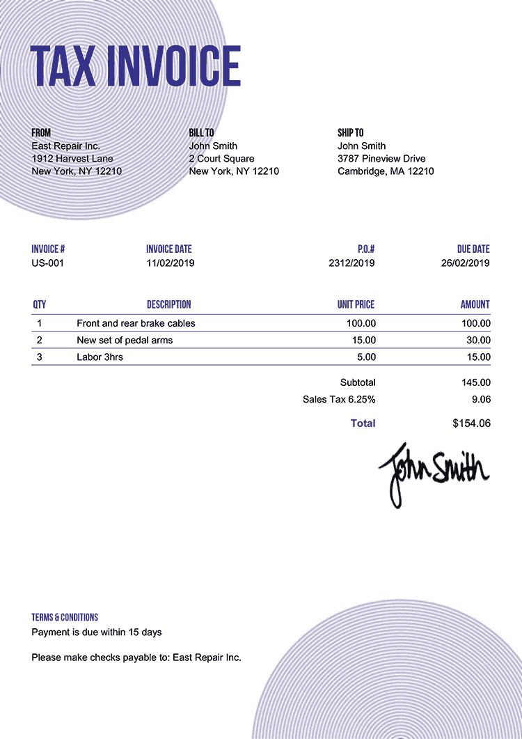 Tax Invoice Template Us Circles Purple