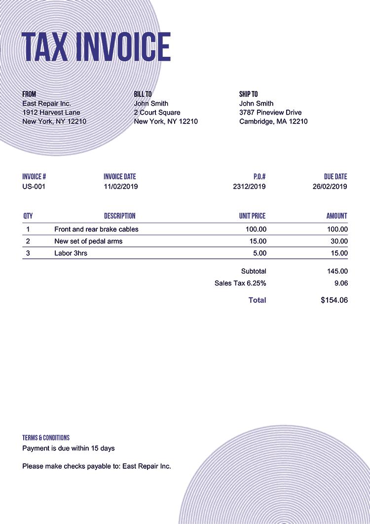 Tax Invoice Template Us Circles Purple No Logo