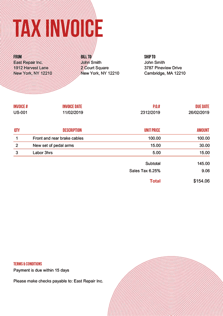 Tax Invoice Template Us Circles Red No Logo