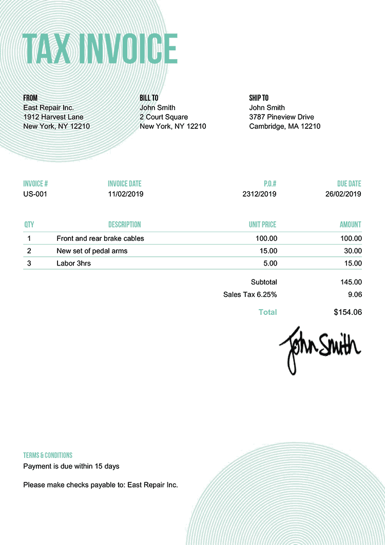 Tax Invoice Template Us Circles Turquoise